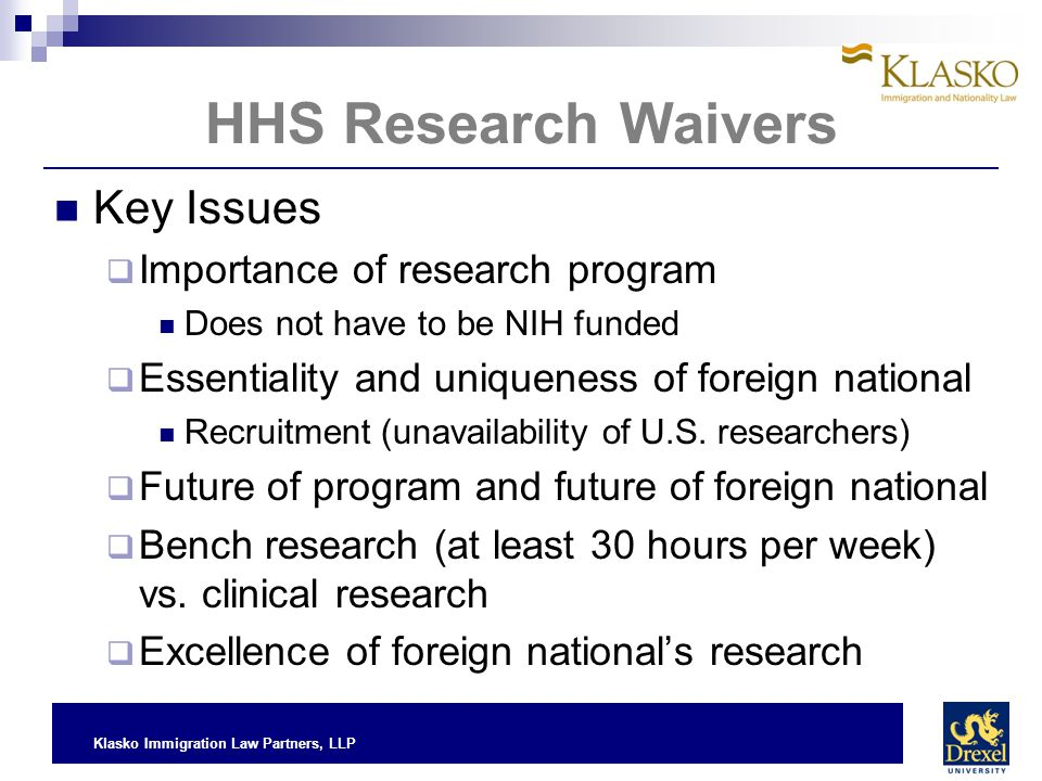 HHS Research Waivers Key Issues Importance of research program