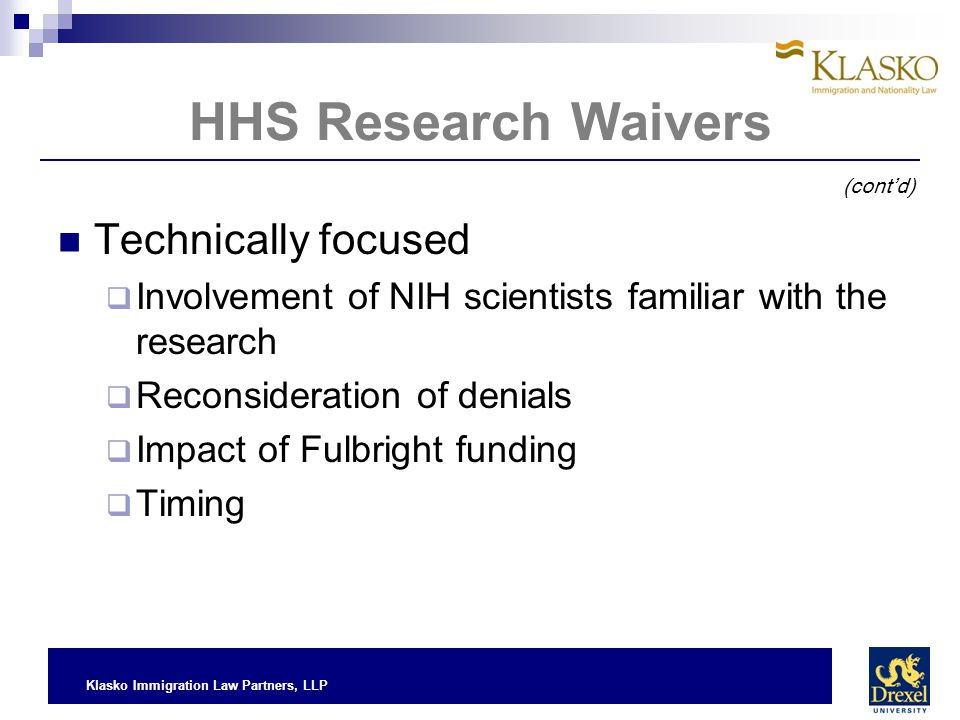 HHS Research Waivers Technically focused