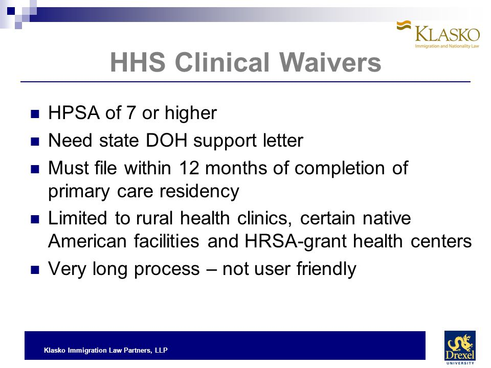 HHS Clinical Waivers HPSA of 7 or higher Need state DOH support letter