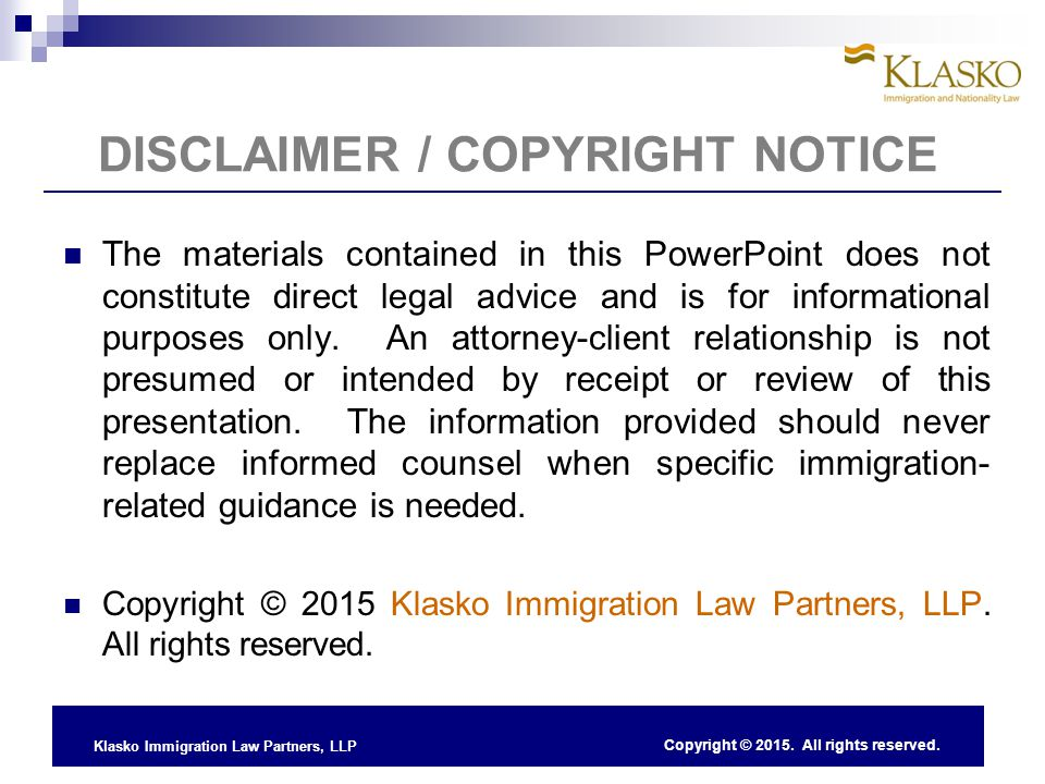 DISCLAIMER / COPYRIGHT NOTICE