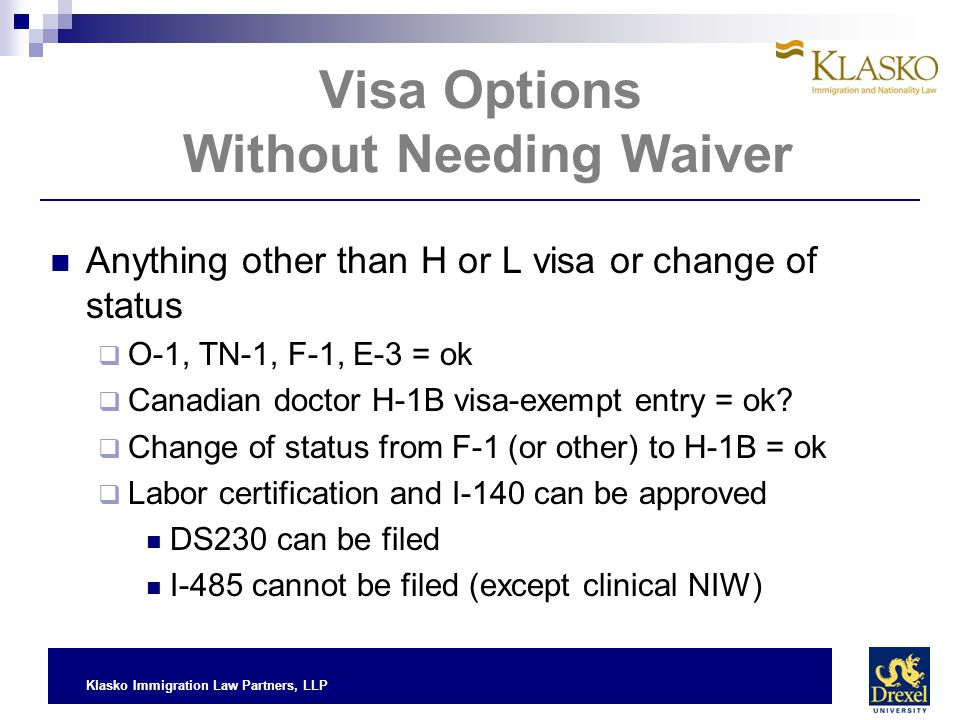 Visa Options Without Needing Waiver