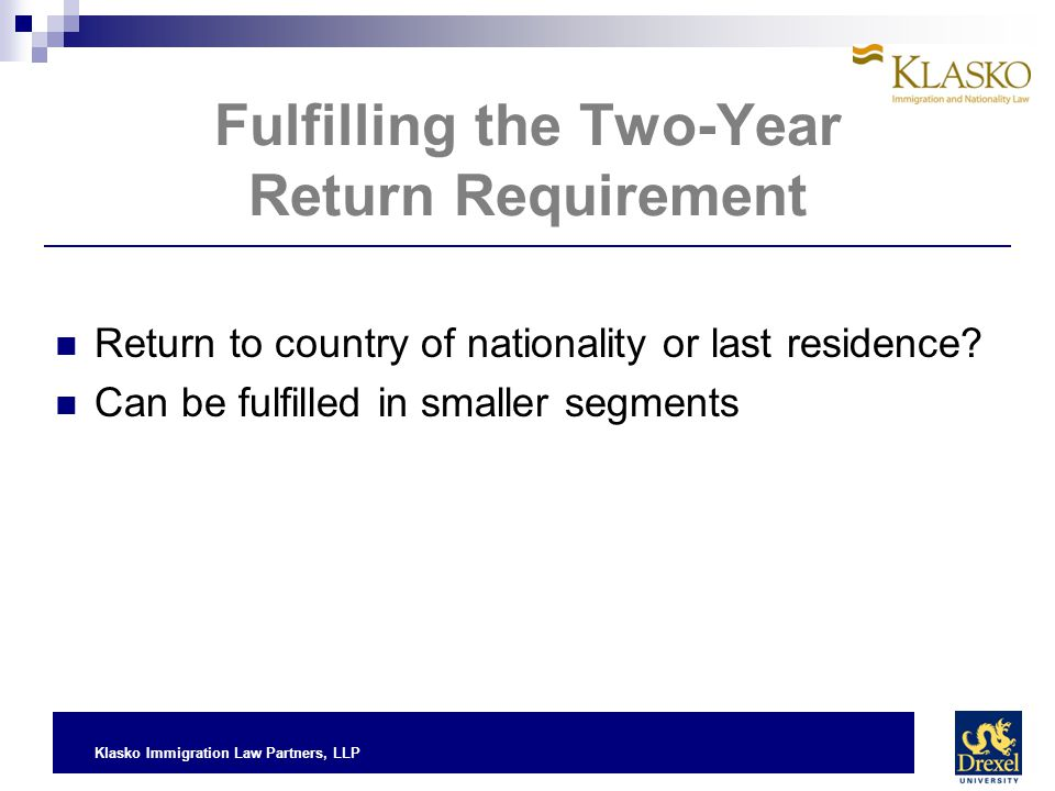 Fulfilling the Two-Year Return Requirement