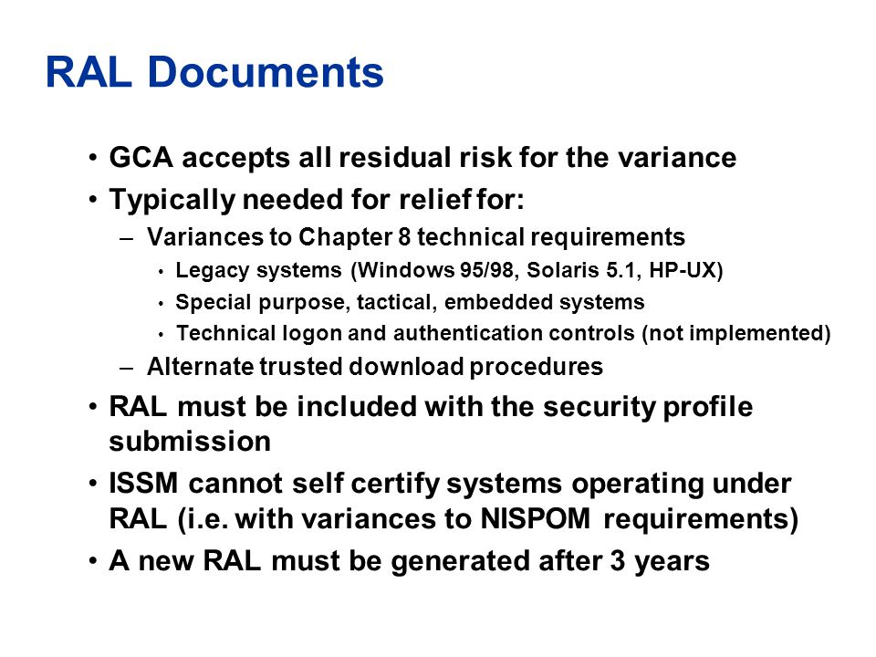 RAL Documents GCA accepts all residual risk for the variance