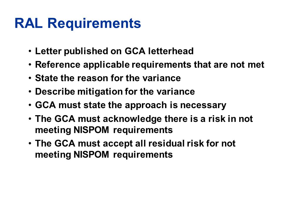RAL Requirements Letter published on GCA letterhead