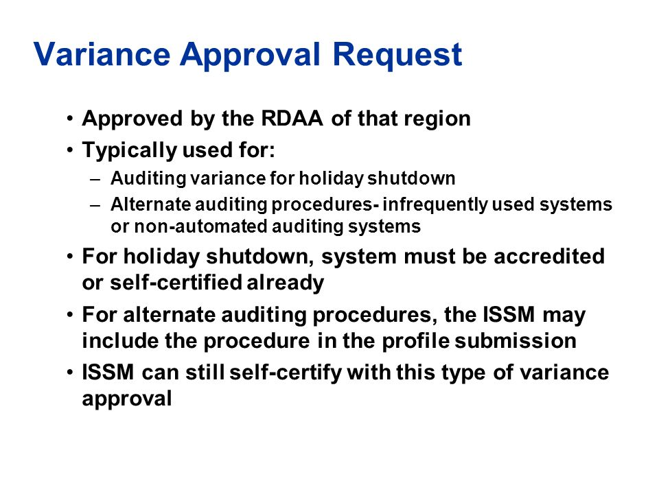 Variance Approval Request
