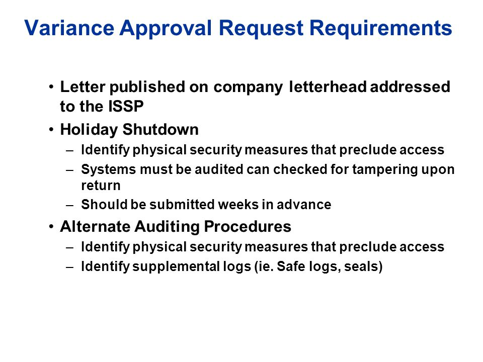 Variance Approval Request Requirements