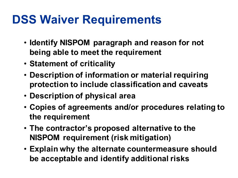 DSS Waiver Requirements