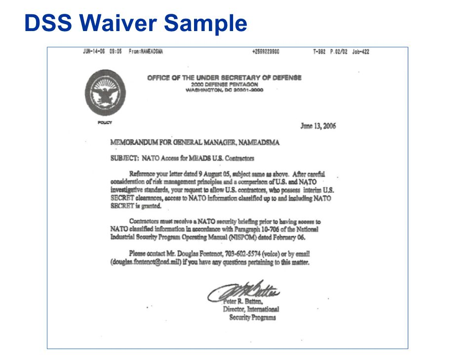 DSS Waiver Sample