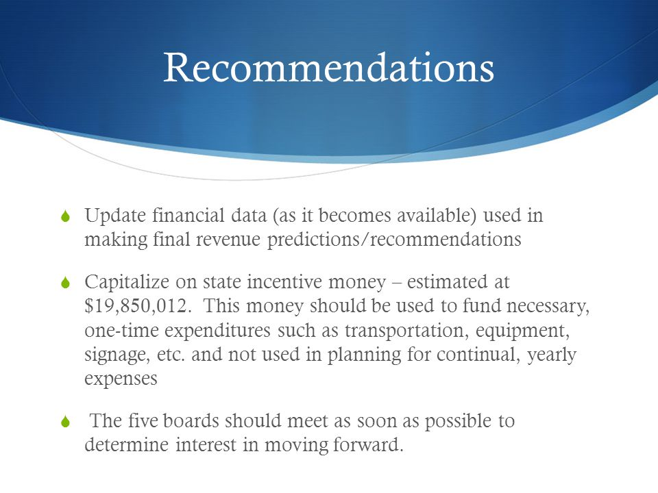 Recommendations Update financial data (as it becomes available) used in making final revenue predictions/recommendations.
