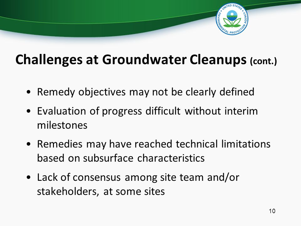 Challenges at Groundwater Cleanups (cont.)