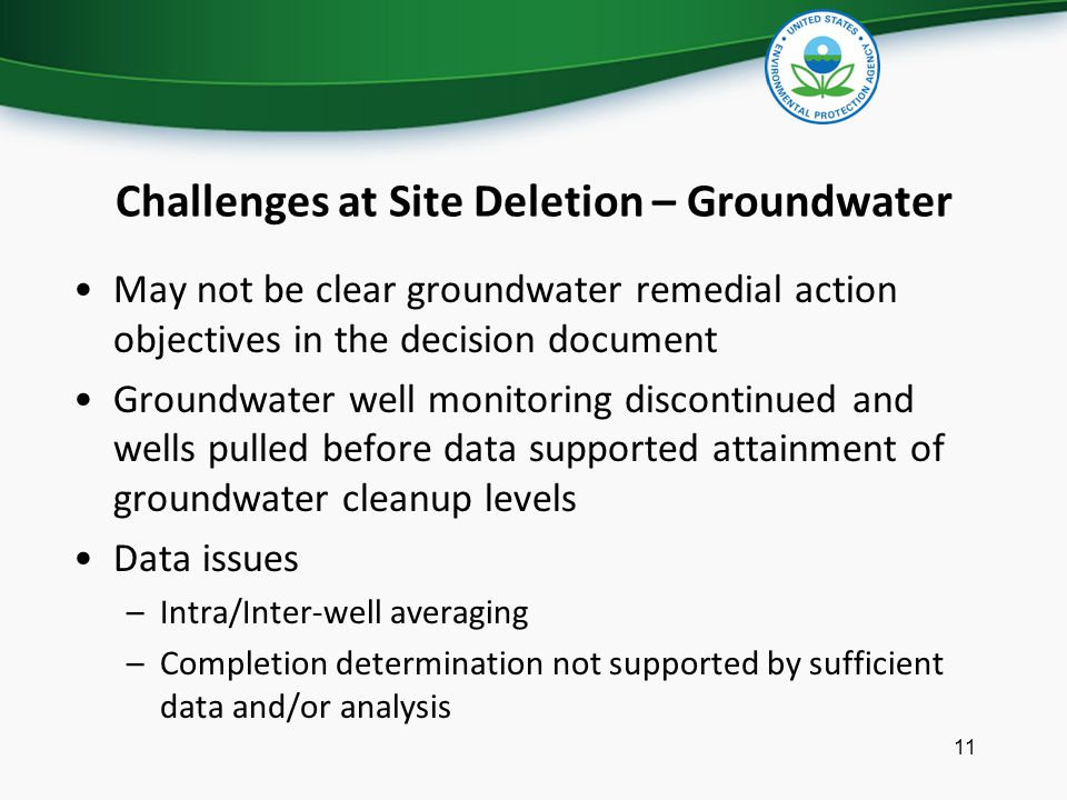Challenges at Site Deletion – Groundwater