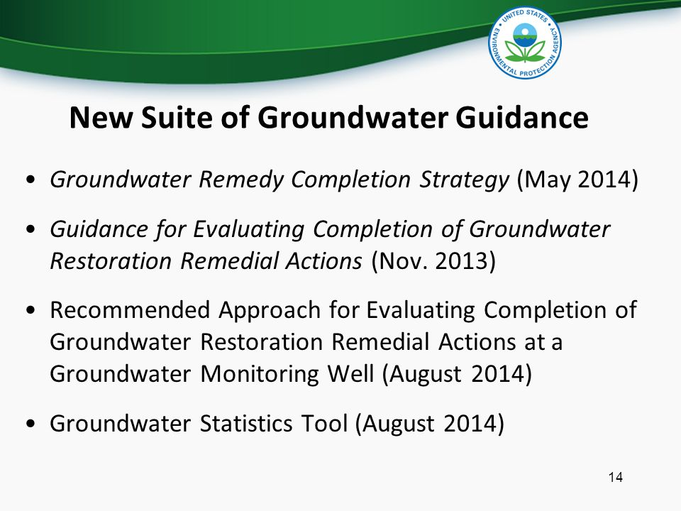 New Suite of Groundwater Guidance