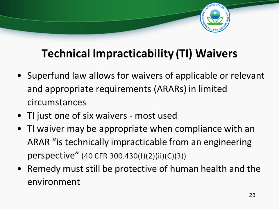 Technical Impracticability (TI) Waivers