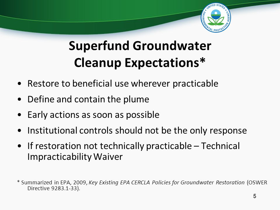 Superfund Groundwater Cleanup Expectations*