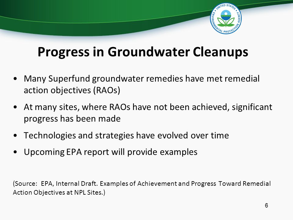 Progress in Groundwater Cleanups