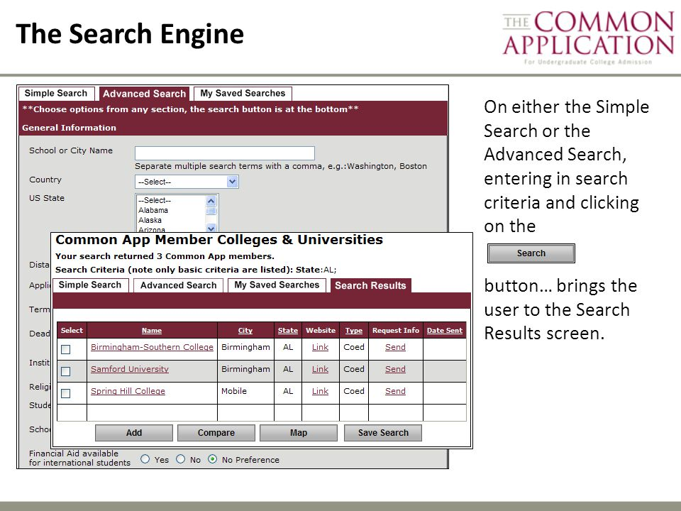 The Search Engine On either the Simple Search or the Advanced Search, entering in search criteria and clicking on the.