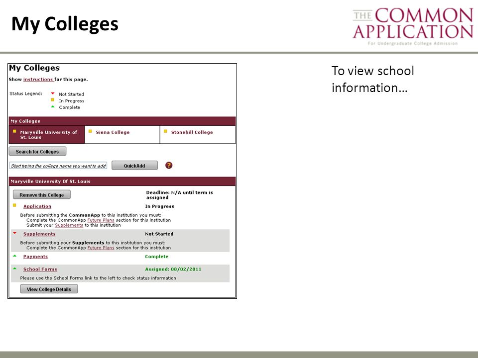 My Colleges To view school information…