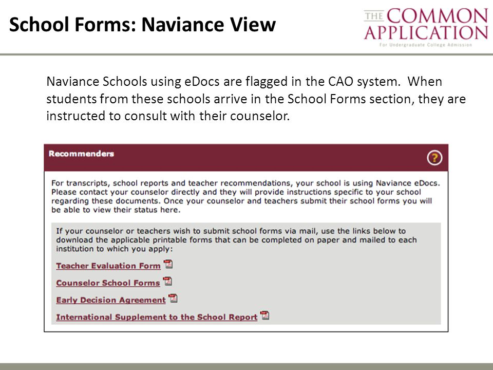 School Forms: Naviance View