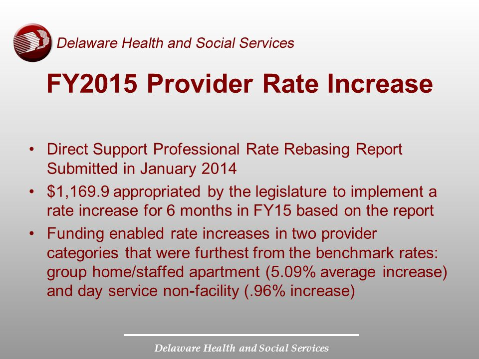 FY2015 Provider Rate Increase