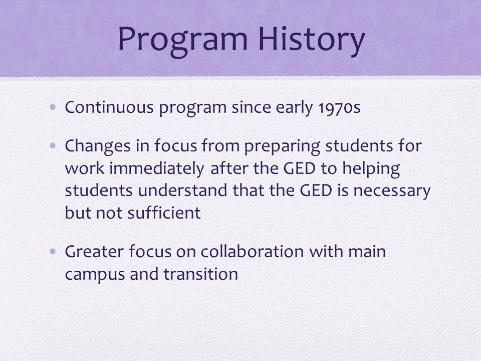 Program History Continuous program since early 1970s