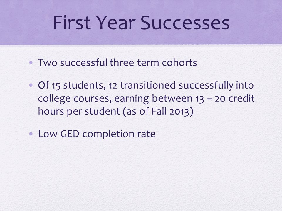 First Year Successes Two successful three term cohorts