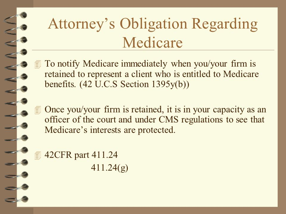 Attorney's Obligation Regarding Medicare