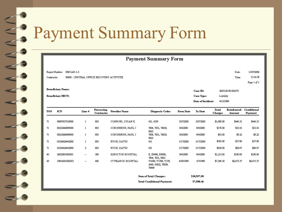 Payment Summary Form