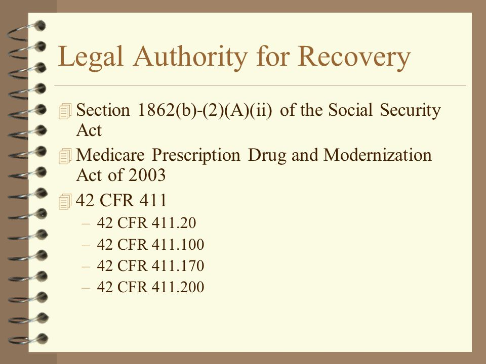 Legal Authority for Recovery