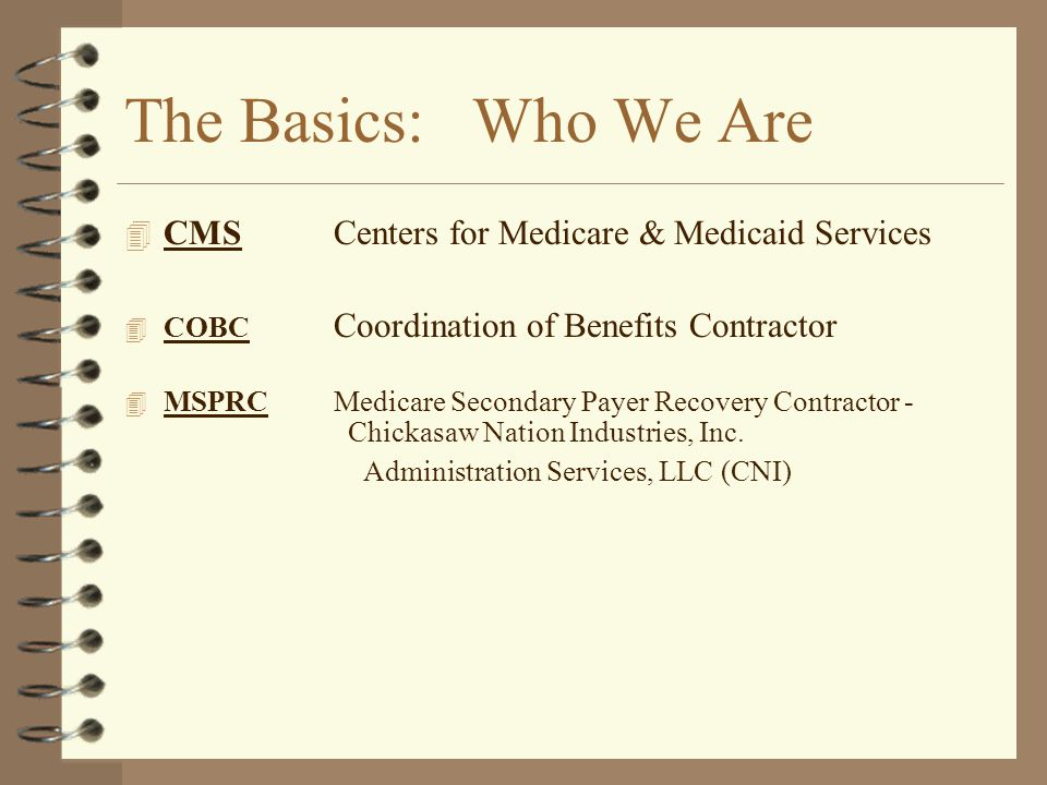The Basics: Who We Are CMS Centers for Medicare & Medicaid Services
