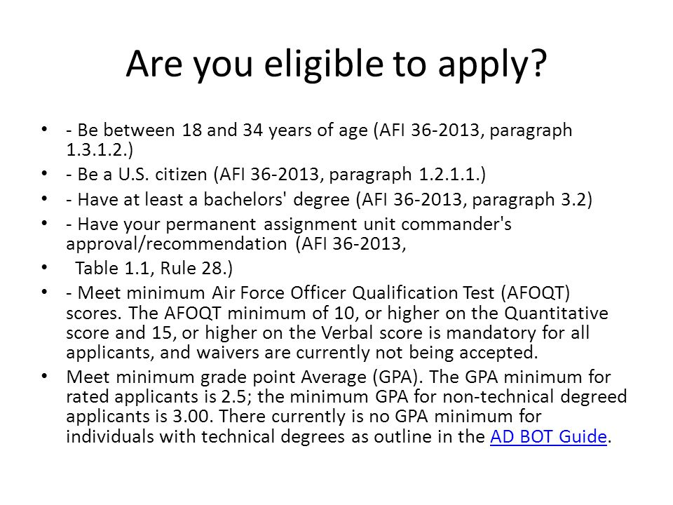 Are you eligible to apply