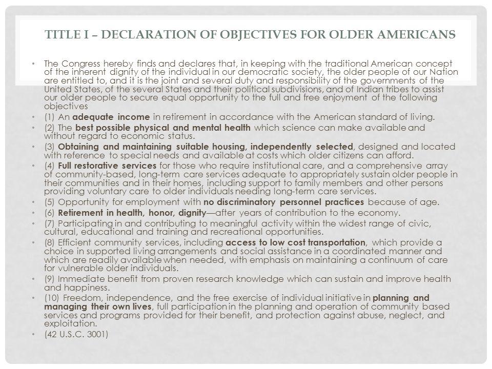 Title I – Declaration of Objectives for Older Americans