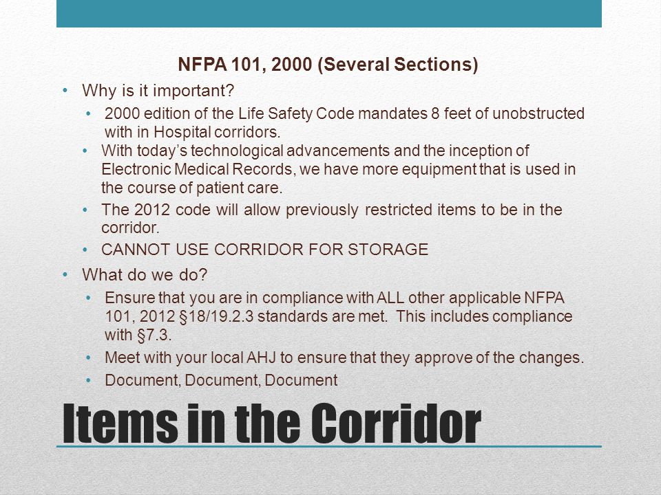 NFPA 101, 2000 (Several Sections)