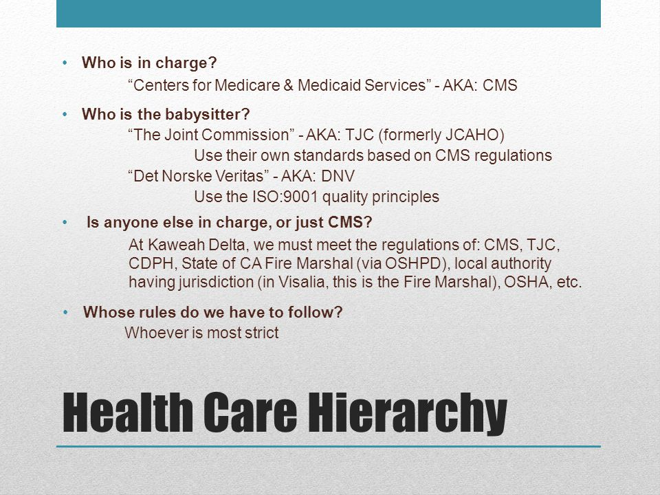 Health Care Hierarchy Who is in charge