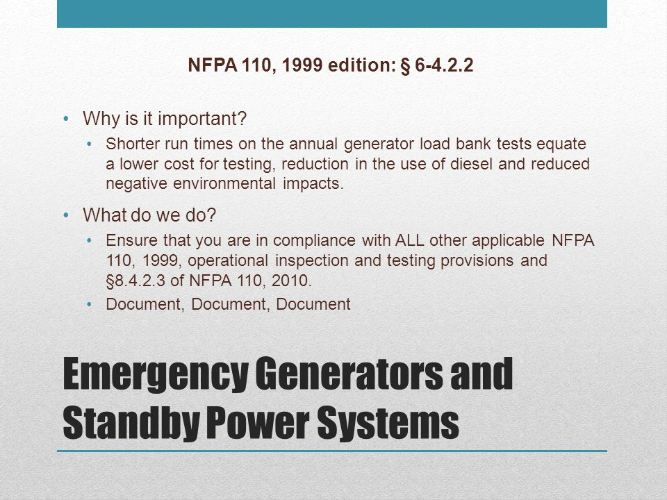 Emergency Generators and Standby Power Systems