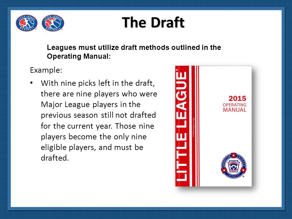 The Draft Leagues must utilize draft methods outlined in the Operating Manual: Example: