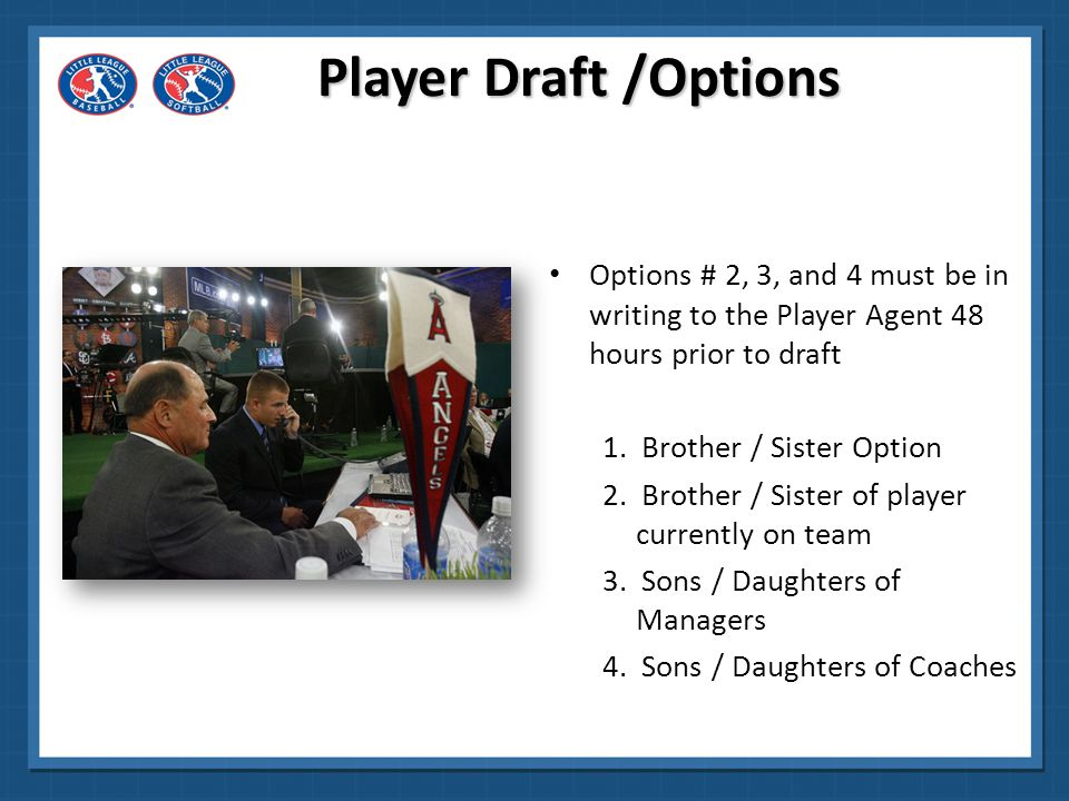 Player Draft /Options Options # 2, 3, and 4 must be in writing to the Player Agent 48 hours prior to draft.