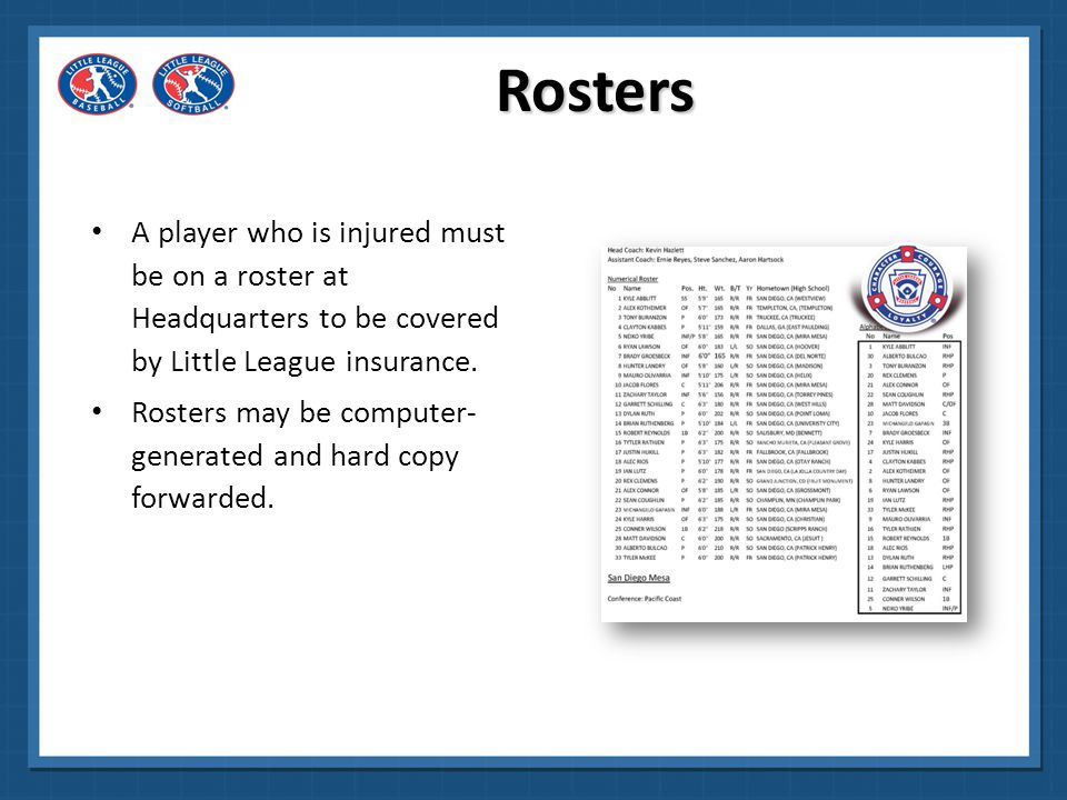 Rosters A player who is injured must be on a roster at Headquarters to be covered by Little League insurance.