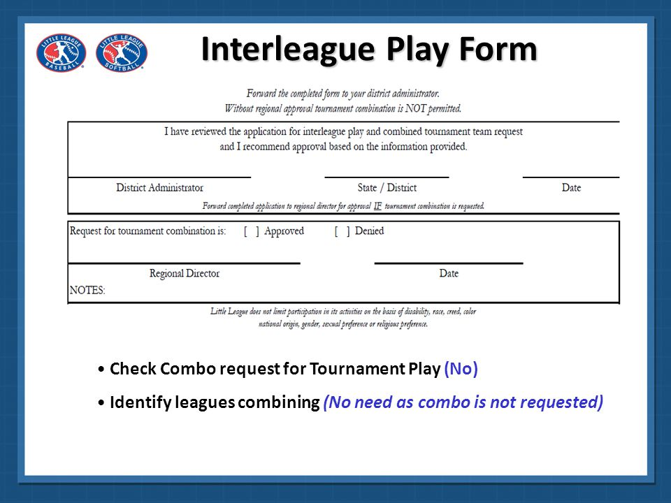 Interleague Play Form Check Combo request for Tournament Play (No)