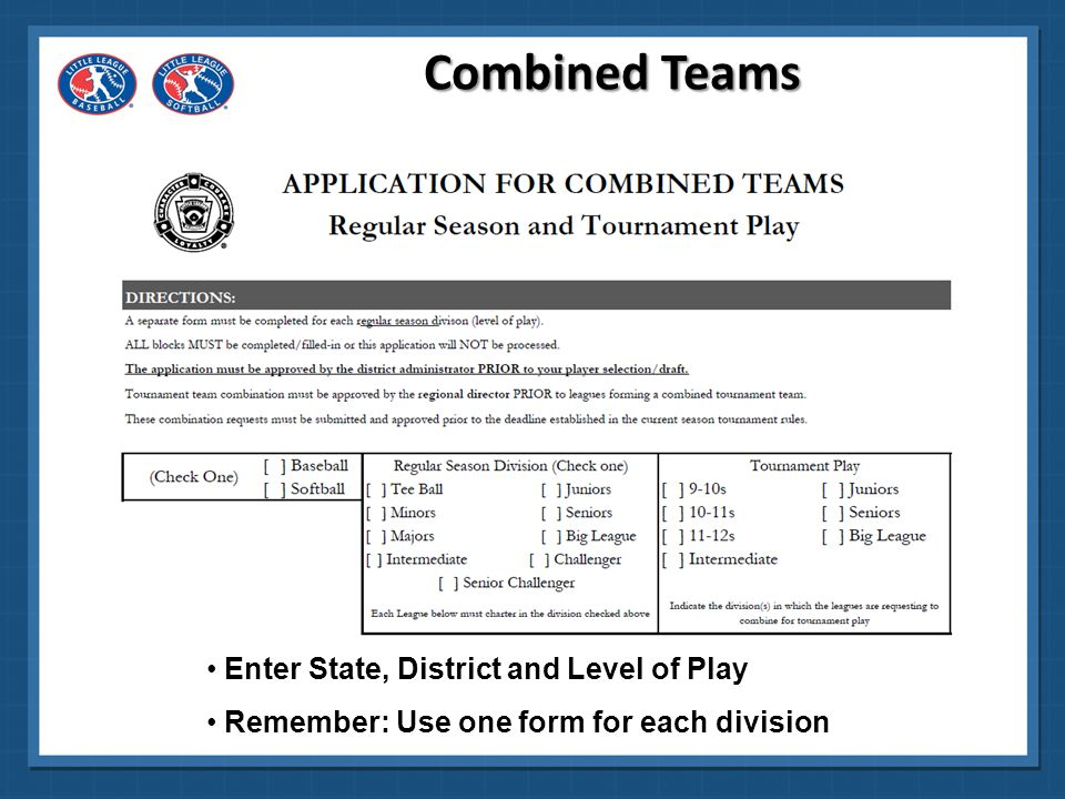 Combined Teams Enter State, District and Level of Play