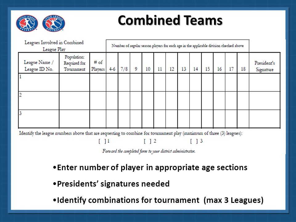 Combined Teams Enter number of player in appropriate age sections