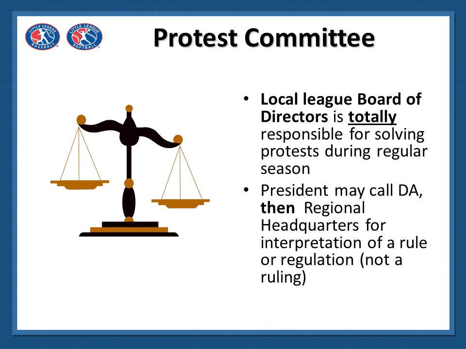 Protest Committee Local league Board of Directors is totally responsible for solving protests during regular season.