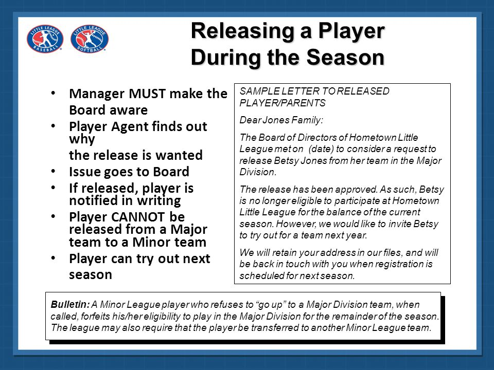 Releasing a Player During the Season