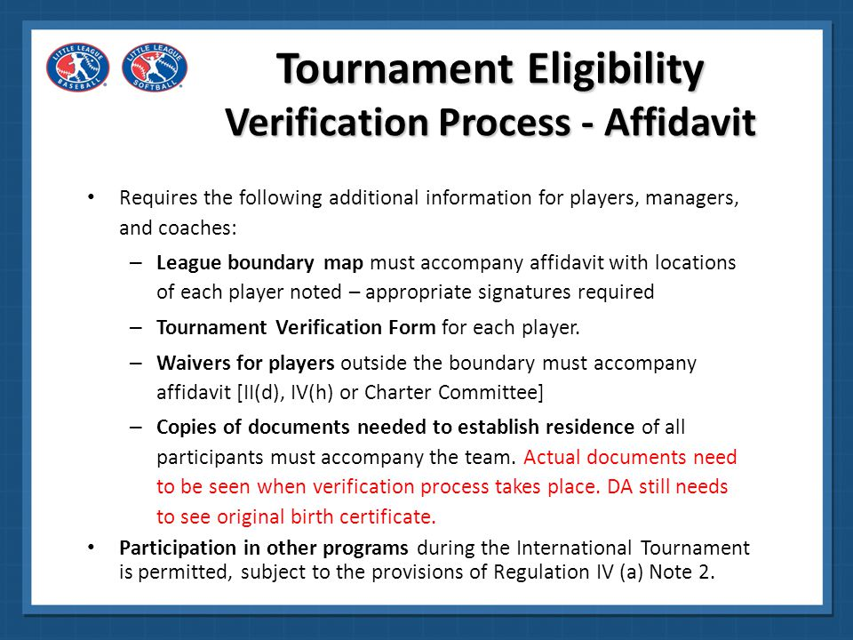 Tournament Eligibility Verification Process - Affidavit