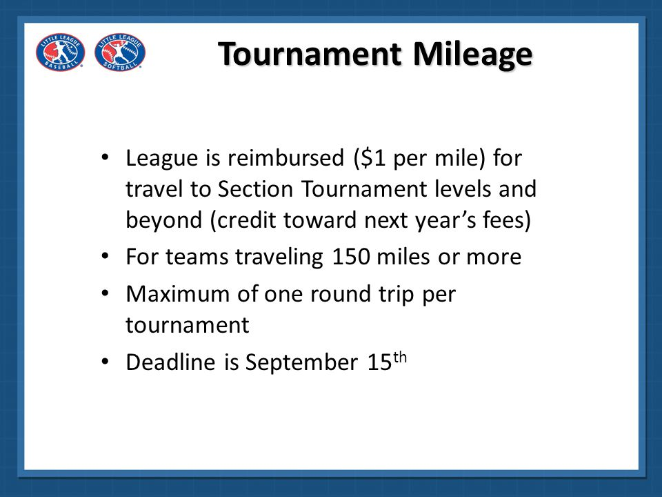 Tournament Mileage League is reimbursed ($1 per mile) for travel to Section Tournament levels and beyond (credit toward next year's fees)