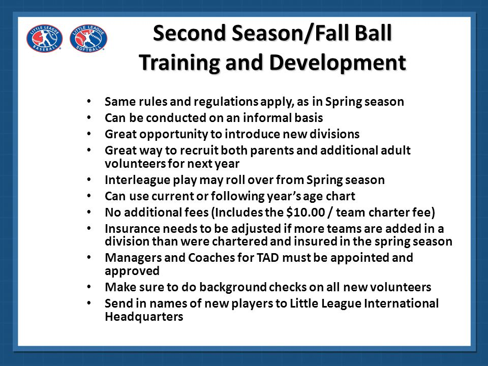 Second Season/Fall Ball Training and Development