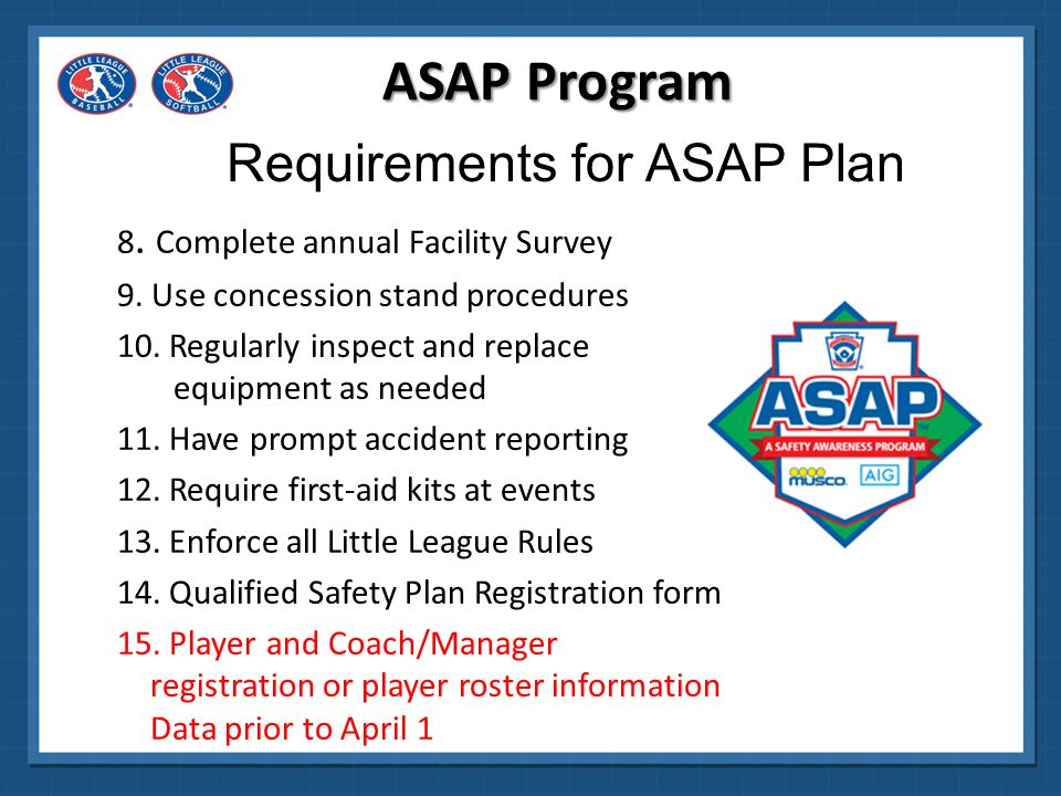 Requirements for ASAP Plan