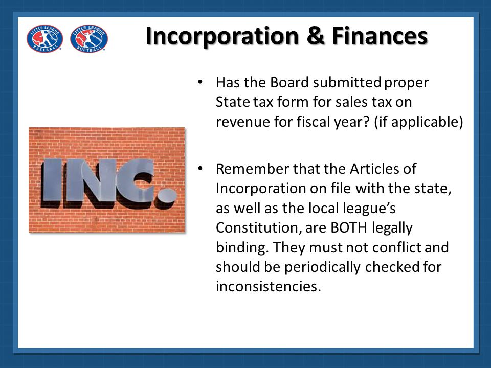 Incorporation & Finances