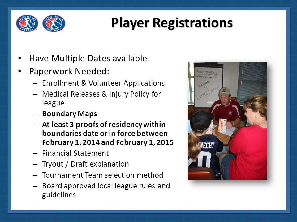 Player Registrations Have Multiple Dates available Paperwork Needed: