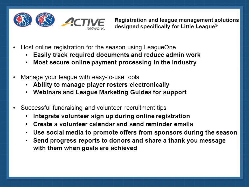 Host online registration for the season using LeagueOne
