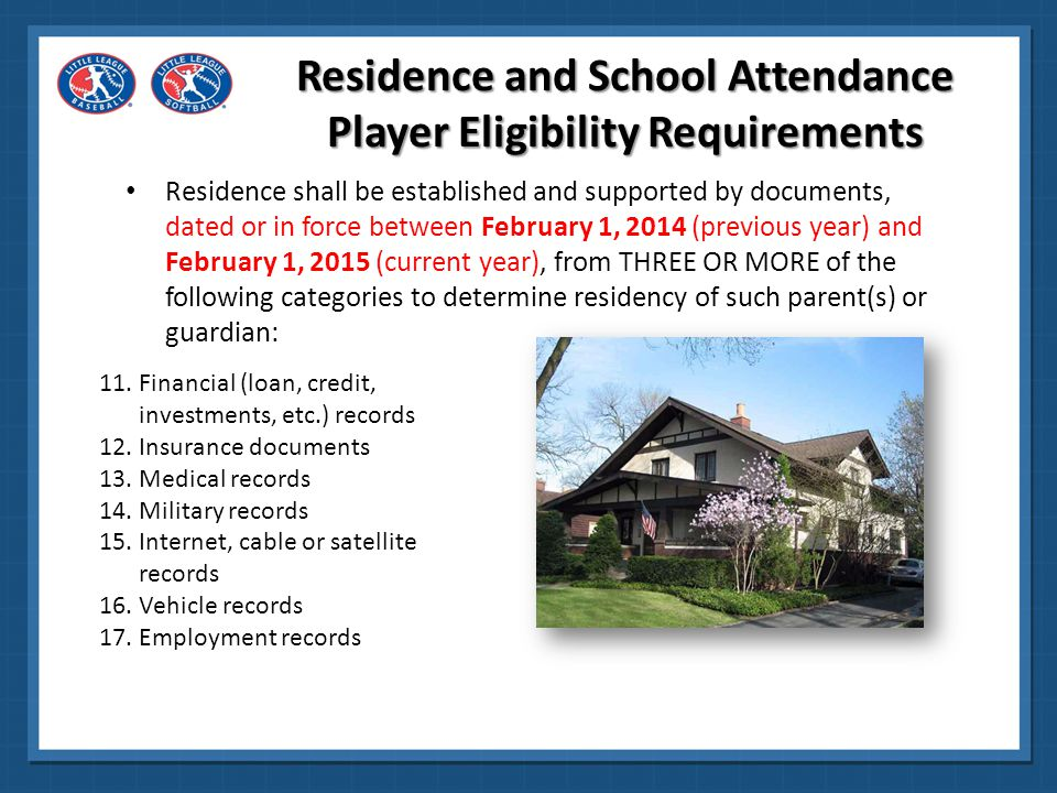 Residence and School Attendance Player Eligibility Requirements